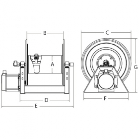 1125-4-100-SS Manual and Motor Rewind for 30m of 12mm for Air, Water or Oil hose