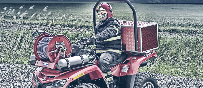 rapid response quad bike with 1125 hose reel attached