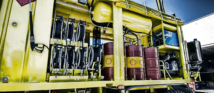 a rack of oil and grease of hose reels on a lubrication truck
