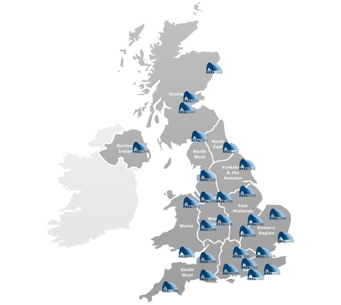 uk distribution map for reelcare hose reels