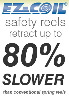 retracts 80% slower than conventional hose reels