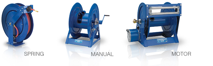 spring retractable, manual rewind and motor driven reels